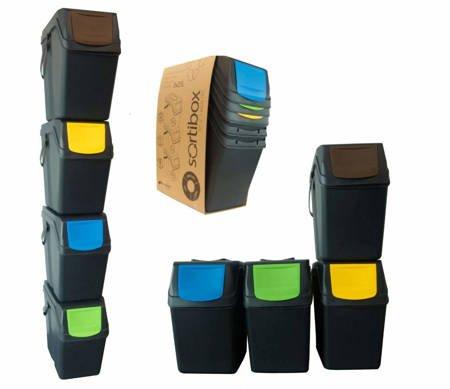 Kosz na śmieci 4x25L do segregacji SORTIBOX czarne - z rączką - model 2020